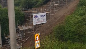 HAKI modular scaffolding and stair tower - M25 infrastructure project